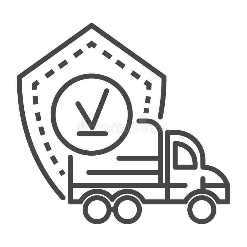 Ícone entregado caminhão do revestimento, estilo do esboço ilustração royalty free