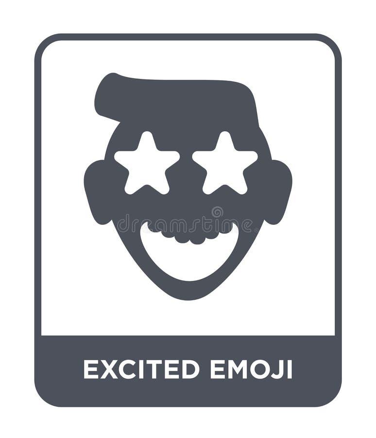ícone entusiasmado do emoji no estilo na moda do projeto ícone excitado do emoji isolado no fundo branco ícone entusiasmado do ve ilustração do vetor