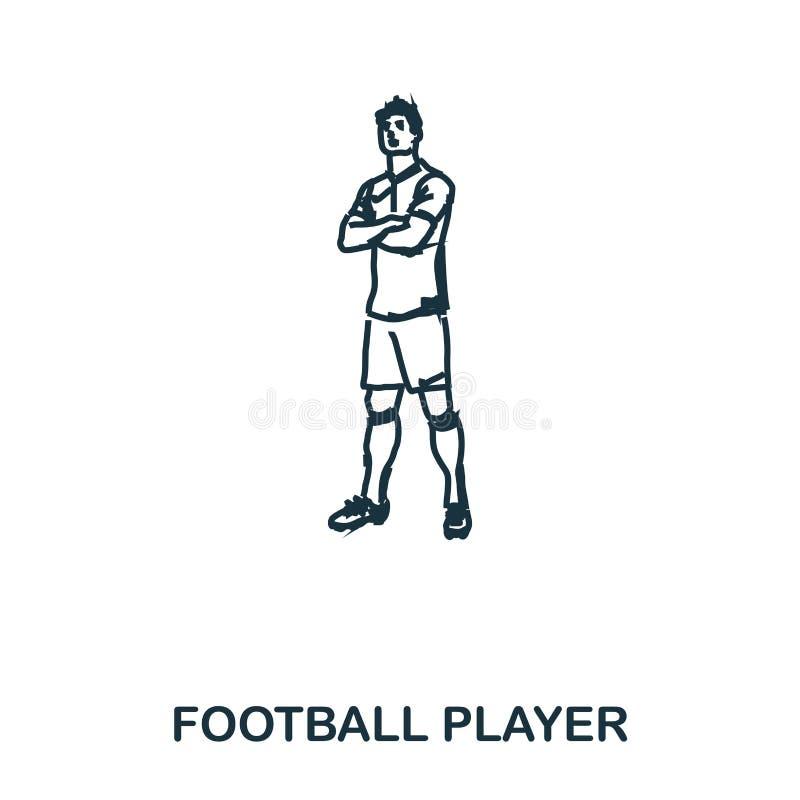 Ícone ereto do jogador de futebol Apps móveis, impressão e mais uso O elemento simples canta Jogador de futebol monocromático