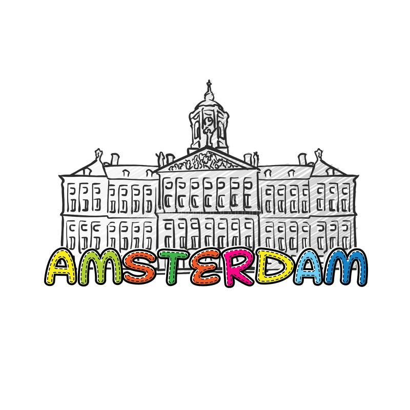 Ícone esboçado bonito de Amsterdão ilustração royalty free