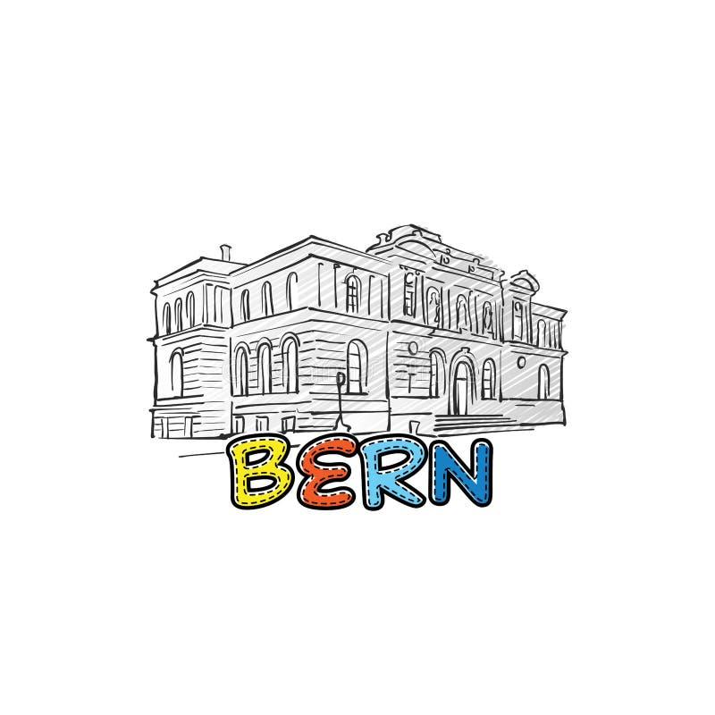 Ícone esboçado bonito de Berna ilustração stock