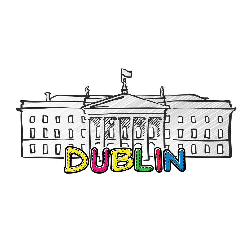 Ícone esboçado bonito de Dublin ilustração royalty free