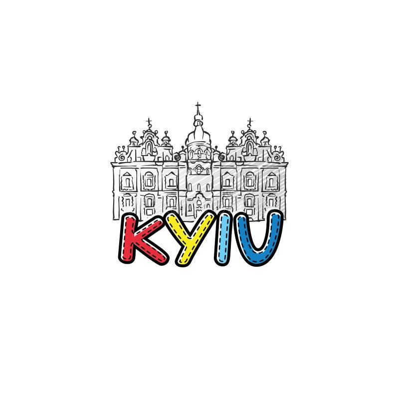 Ícone esboçado bonito de Kyiv ilustração royalty free