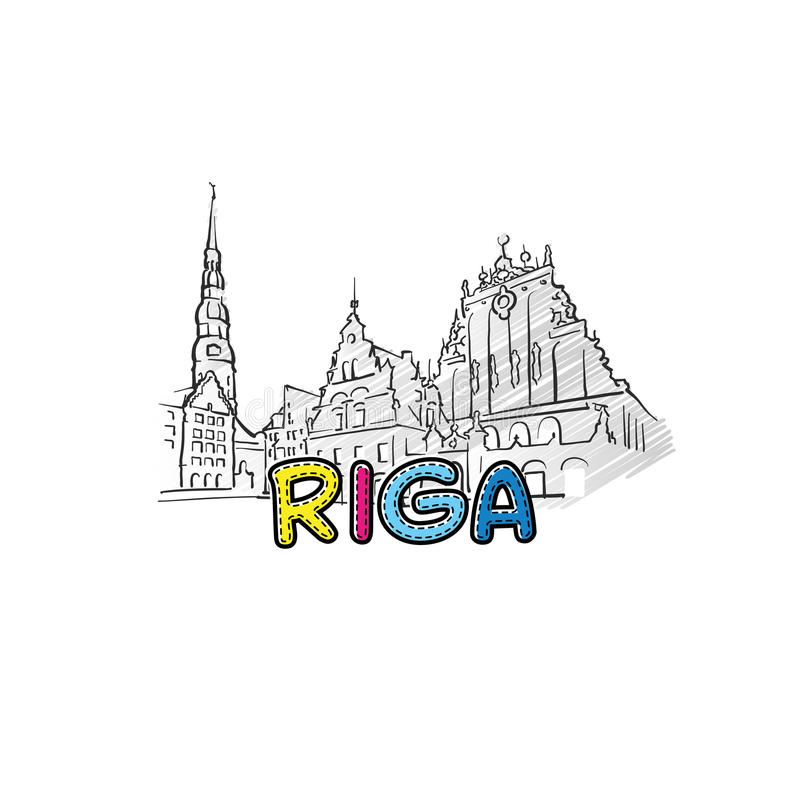 Ícone esboçado bonito de Riga ilustração royalty free