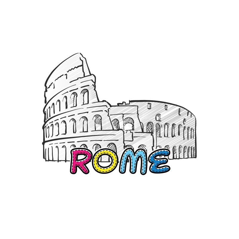 Ícone esboçado bonito de Roma ilustração stock