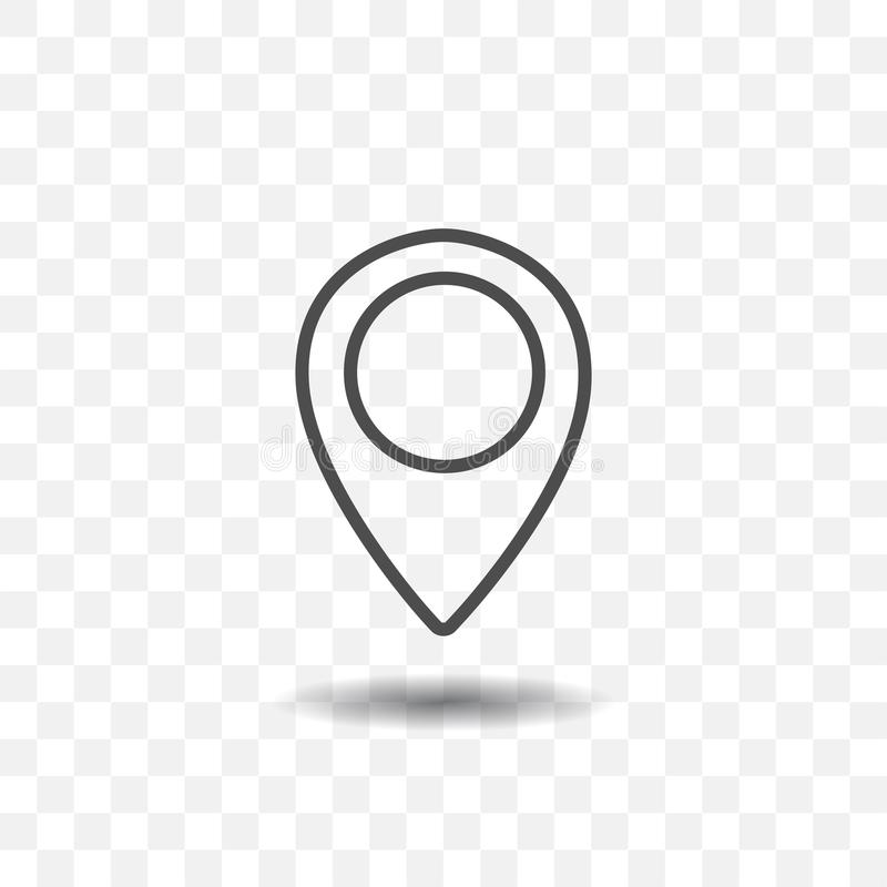 Ícone esboçado do ponteiro do lugar do mapa no fundo transparente Pino do mapa para o alvo ou o destino ilustração do vetor
