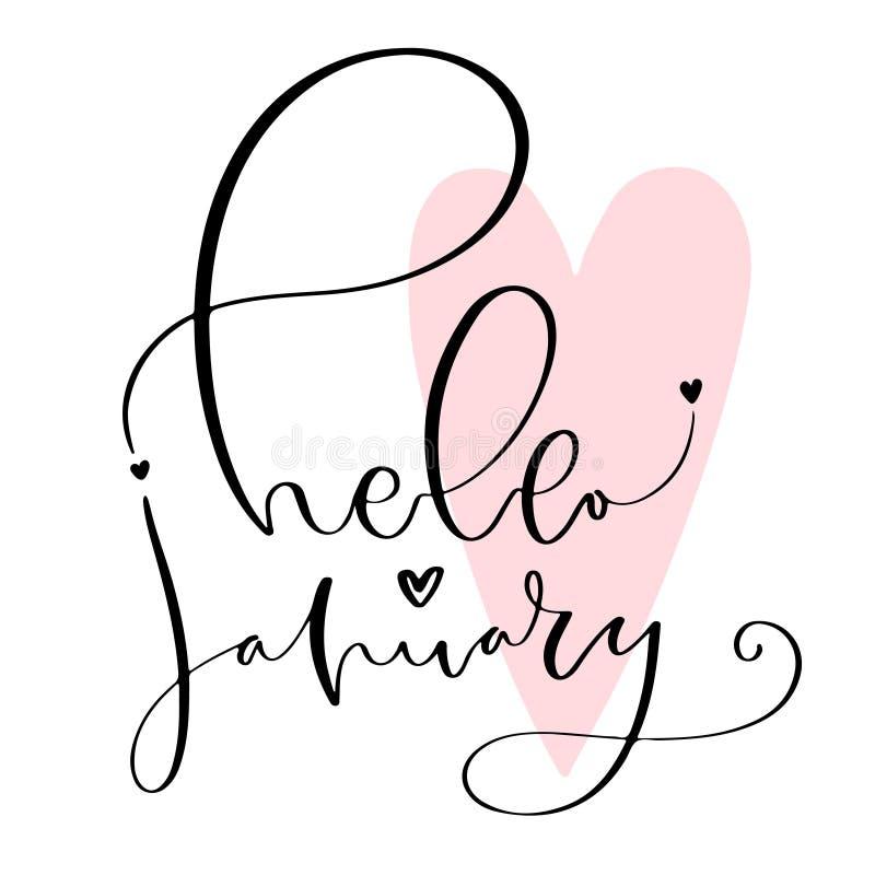 Ícone escrito à mão do inverno Ilustração caligráfica do inverno para o calendário Olá! janeiro ilustração stock