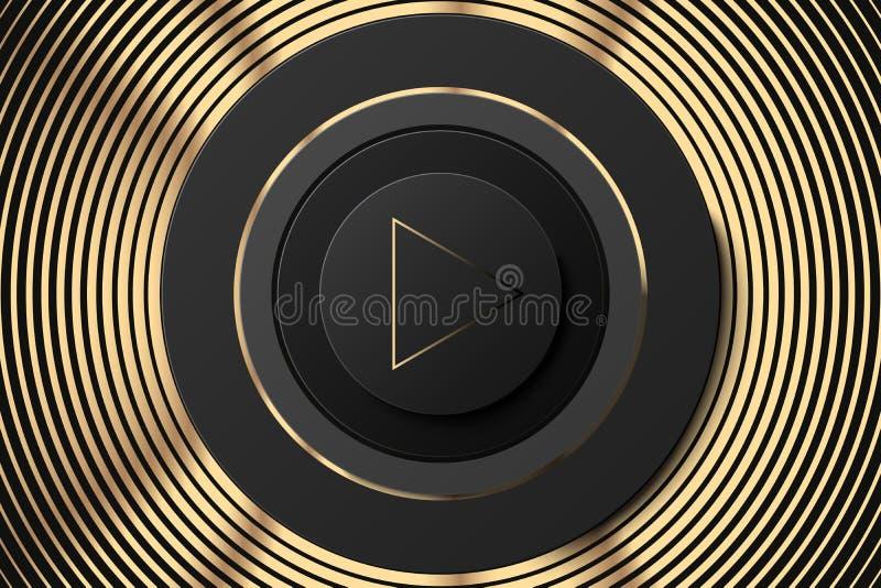 Ícone escuro do círculo do vetor com botão do jogo Preto e ilustração do orador do ouro Fundo dourado preto da música ilustração royalty free