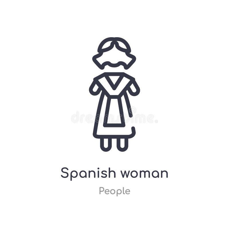 ícone espanhol do esboço da mulher linha isolada ilustra??o do vetor da cole??o dos povos ícone espanhol da mulher do curso fino  ilustração do vetor