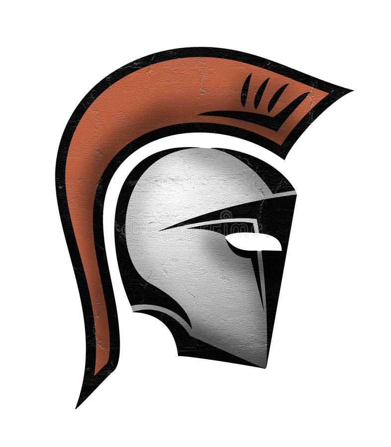 Ícone espartano do capacete ilustração do vetor