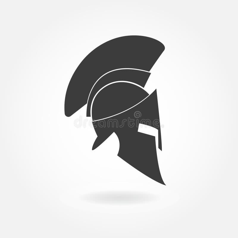 Ícone espartano do capacete Capacete romano ou grego antigo com o capacete emplumado do metal da crista para soldados da proteção ilustração do vetor