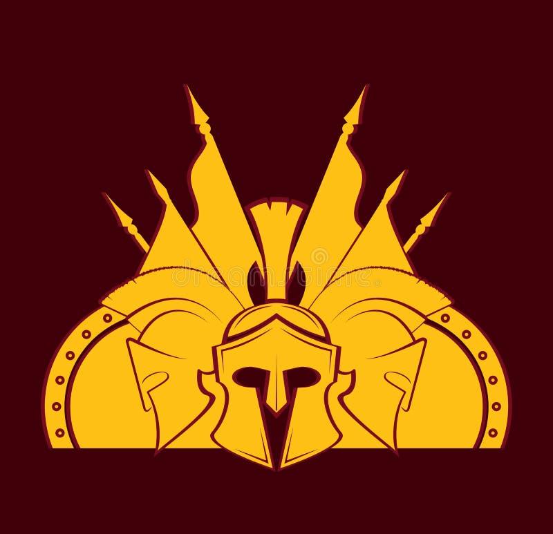 Ícone espartano do vetor do símbolo militar do capacete ilustração royalty free