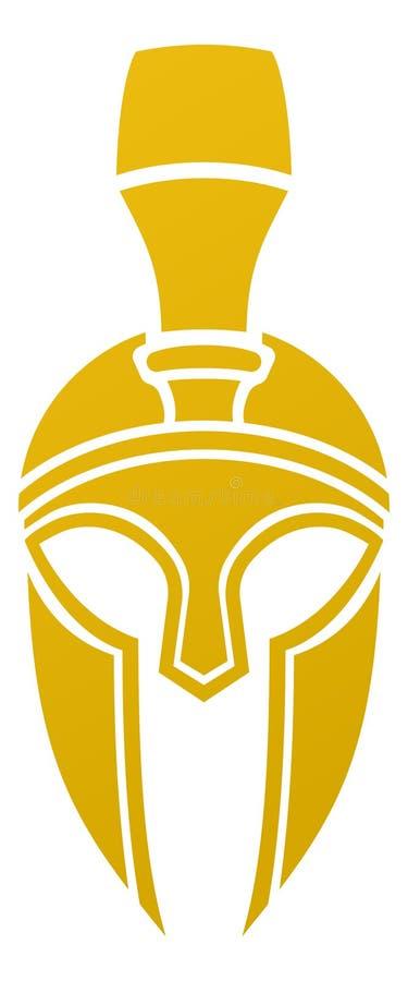 Ícone espartano ou Trojan do capacete ilustração royalty free