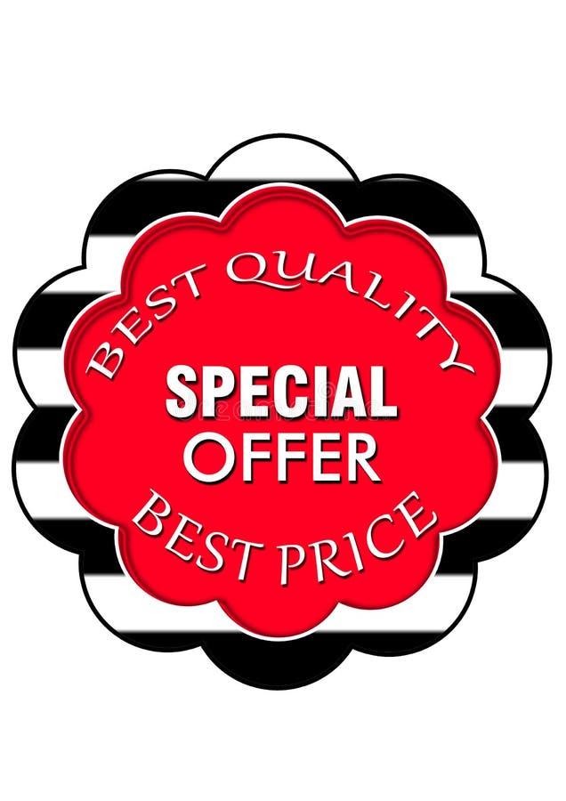 Ícone especial da Web do botão da oferta da qualidade da venda da estação melhor ilustração do vetor