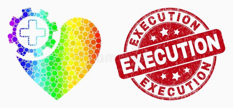 Ícone espectral da engrenagem do coração de Pixelated do vetor e filigrana da execução do Grunge ilustração stock