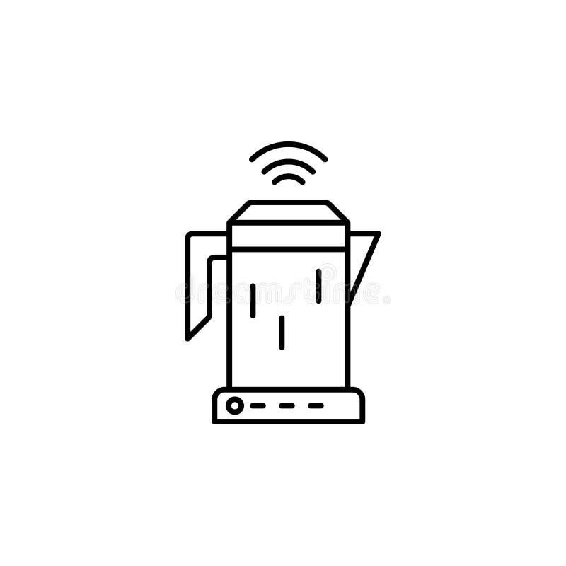 Ícone esperto da chaleira Elemento do ícone futuro da tecnologia para apps móveis do conceito e da Web A linha fina ícone esperto ilustração stock
