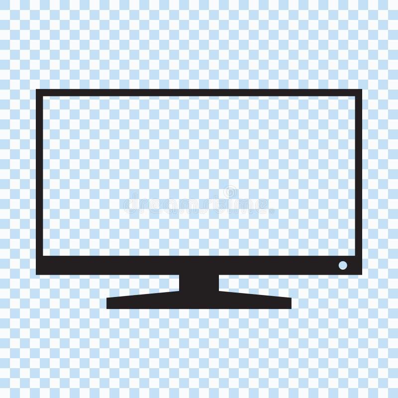Ícone esperto da tevê do tela panorâmico do diodo emissor de luz de TFT ilustração do vetor
