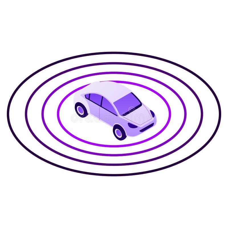 Ícone esperto da zona do sensor do carro, estilo isométrico ilustração do vetor
