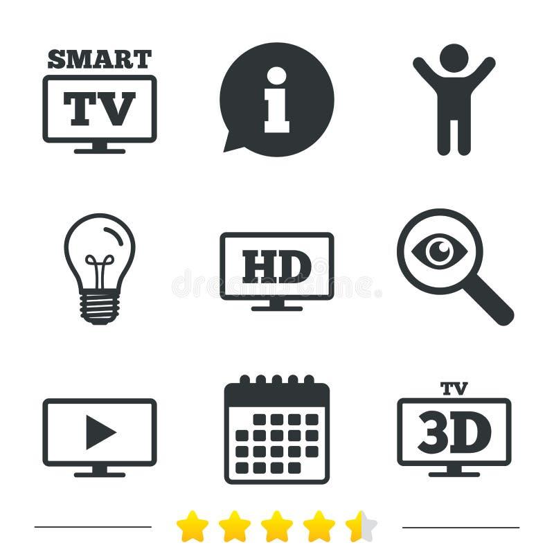Ícone esperto do modo da tevê símbolo da televisão 3D ilustração stock