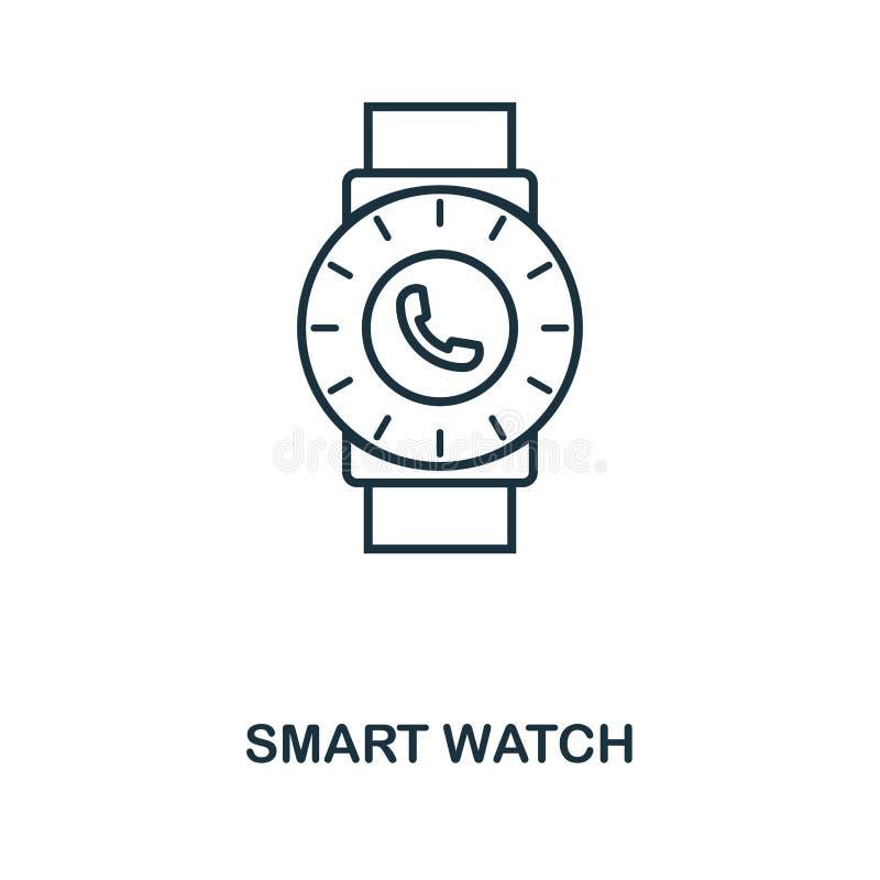 Ícone esperto do relógio Projeto monocromático do estilo da coleção visual do ícone do dispositivo Ui Ícone esperto do relógio do ilustração stock