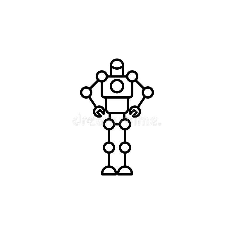 Ícone esperto do robô do robô do exército Elemento do ícone futuro da tecnologia para apps móveis do conceito e da Web Linha fina ilustração stock