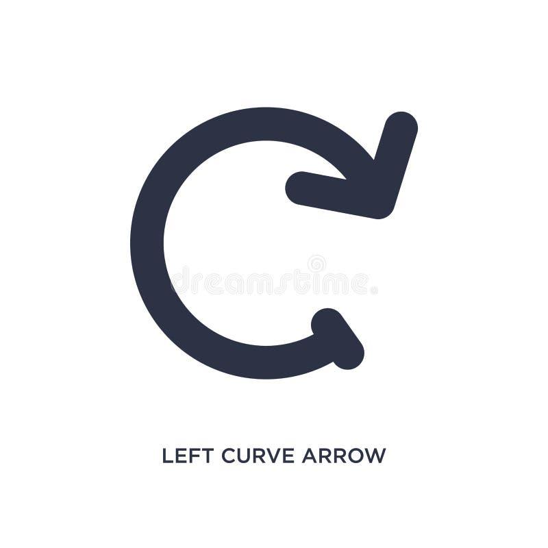 ícone esquerdo da seta da curva no fundo branco Ilustração simples do elemento do conceito das setas ilustração royalty free