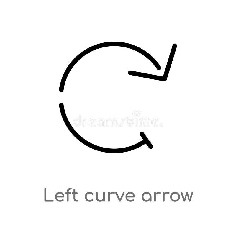 ícone esquerdo do vetor da seta da curva do esboço linha simples preta isolada ilustração do elemento do conceito das setas Curso ilustração stock