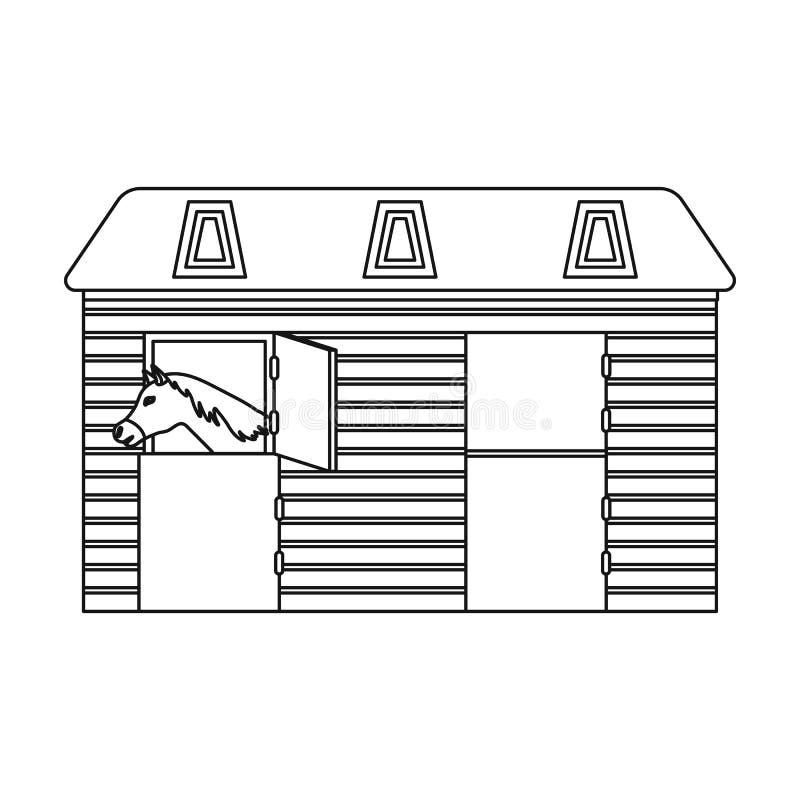 Ícone estável do cavalo no estilo do esboço isolado no fundo branco Ilustração do vetor do estoque do símbolo do hipódromo e do c ilustração royalty free