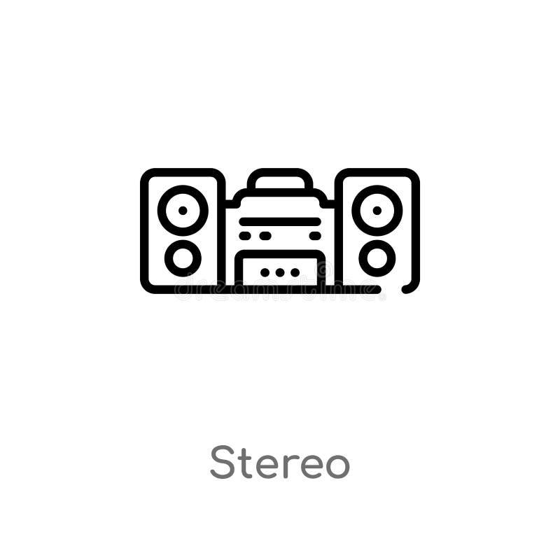 ícone estereofônico do vetor do esboço linha simples preta isolada ilustração do elemento do conceito dos dispositivos eletrónico ilustração do vetor