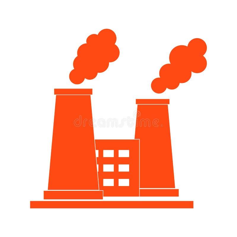 Ícone estilizado da planta de refinaria de petróleo com chaminés de fumo ilustração royalty free
