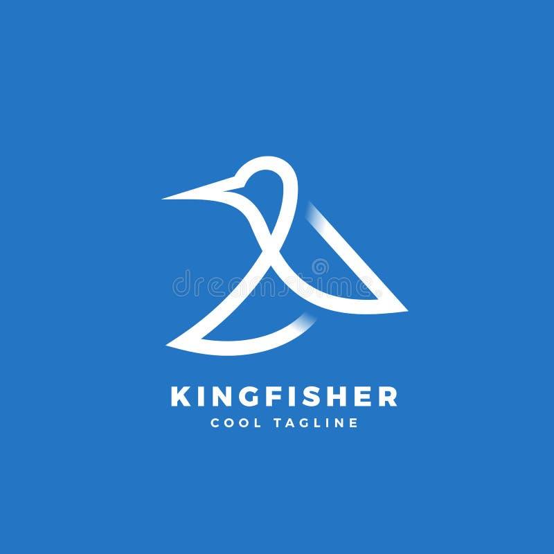 Ícone, etiqueta ou Logo Template do vetor do sumário do pássaro do martinho pescatore Linha silhueta de Minimalistic do estilo co ilustração do vetor