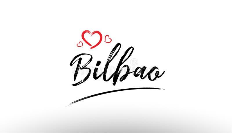 ícone europeu de do logotipo do turismo do coração do amor do nome da cidade de Bilbao Europa ilustração do vetor