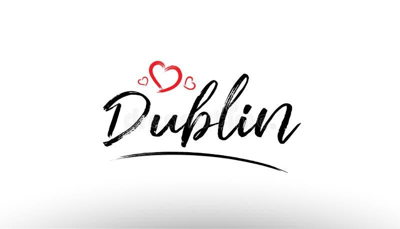 ícone europeu de do logotipo do turismo do coração do amor do nome da cidade de Dublin Europa ilustração stock