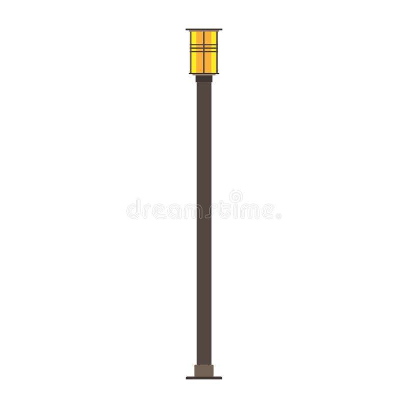 Ícone exterior velho urbano do cargo da iluminação do vetor da cidade da lâmpada da luz de rua Cidade da estrada do equipamento d ilustração royalty free