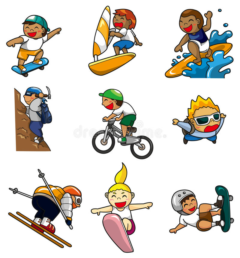 Ícone extremo do esporte dos desenhos animados ilustração stock