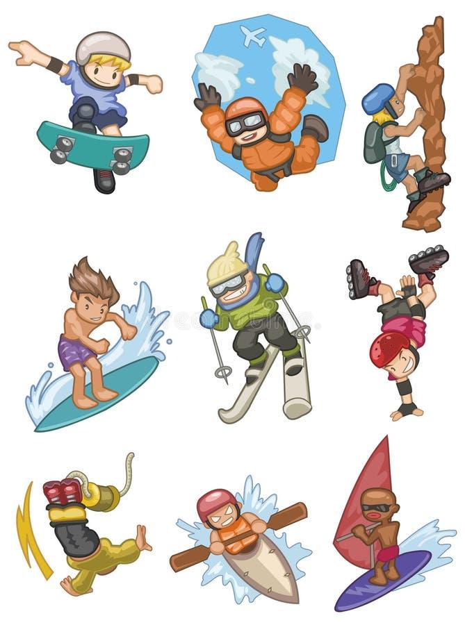 Ícone extremo do esporte dos desenhos animados ilustração royalty free