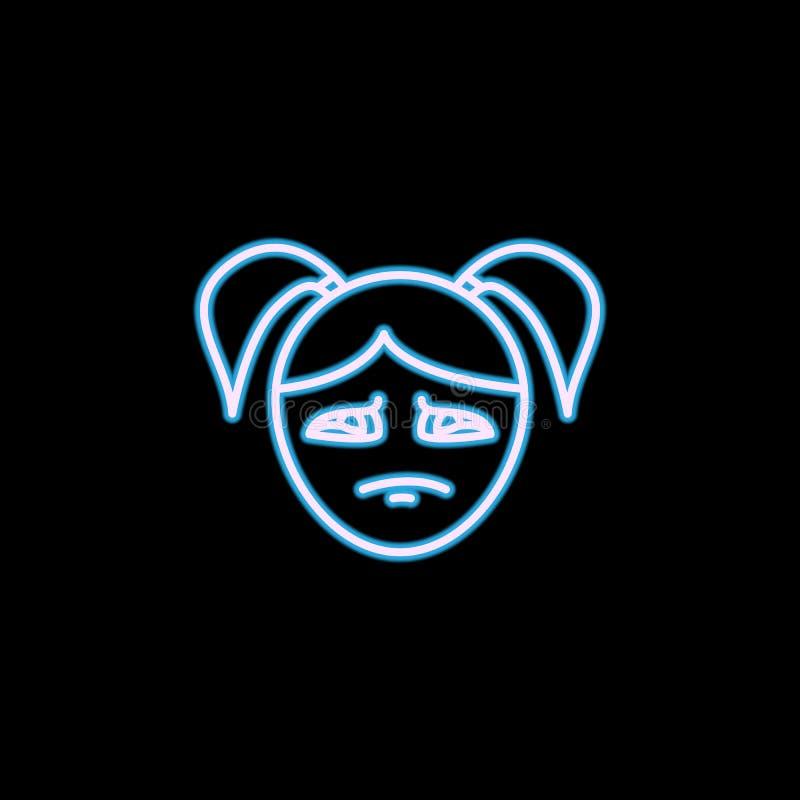 ícone eyed teary da cara da menina no estilo de néon Um do ícone da coleção das emoções pode ser usado para UI, UX ilustração royalty free