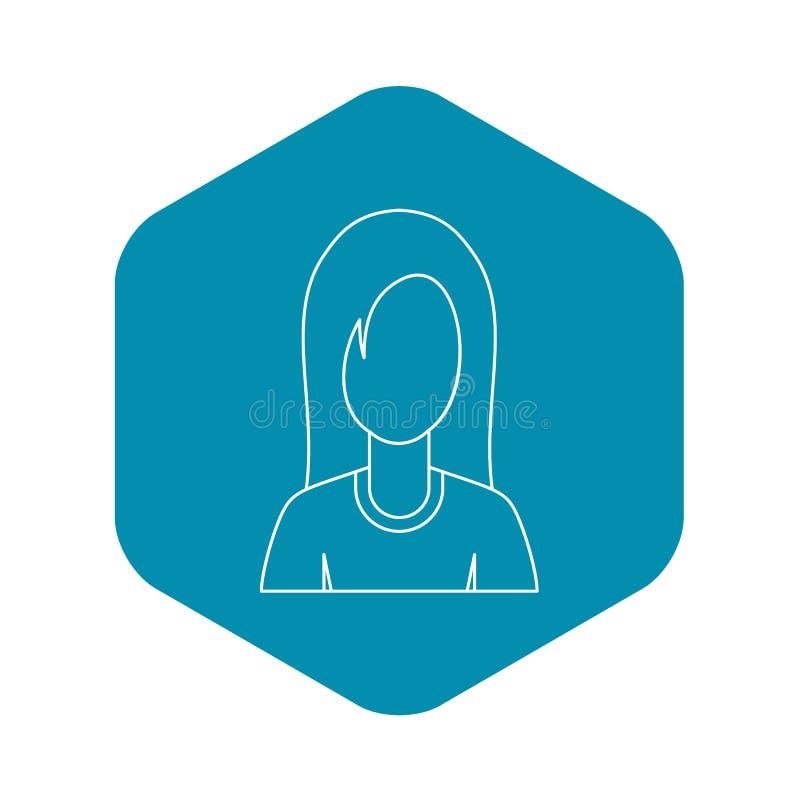 Ícone fêmea da imagem do perfil do avatar, estilo do esboço ilustração royalty free