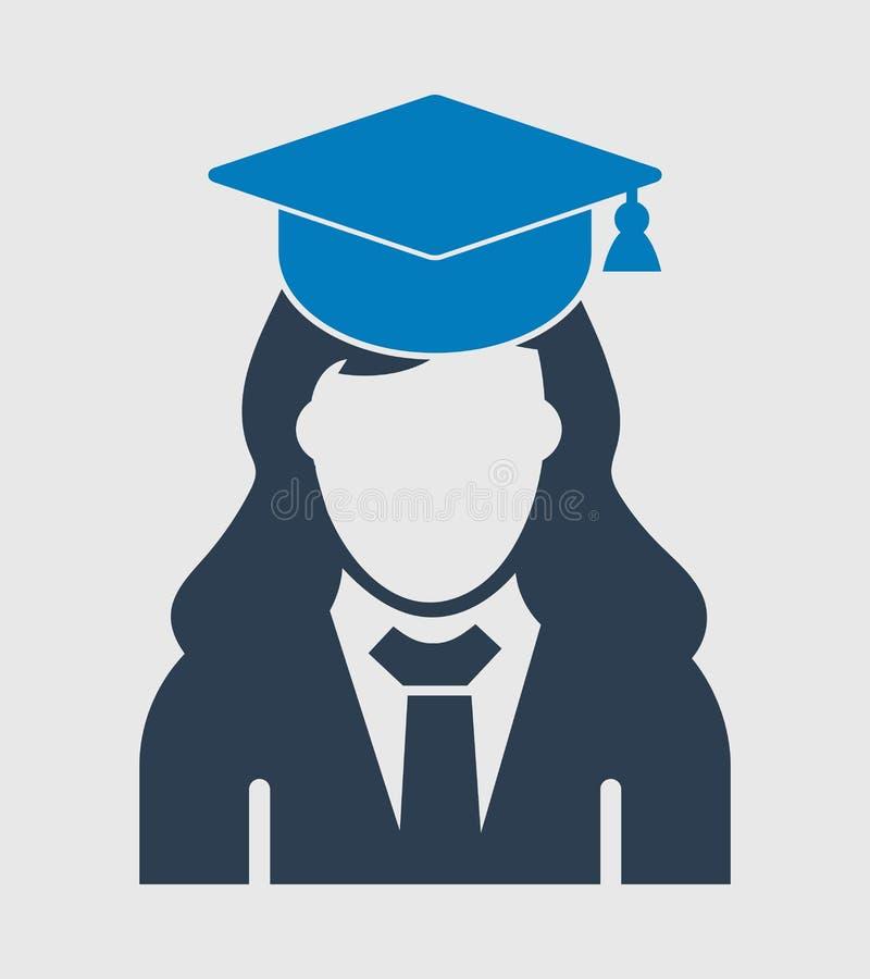 Ícone fêmea do aluno diplomado com vestido e tampão ilustração do vetor