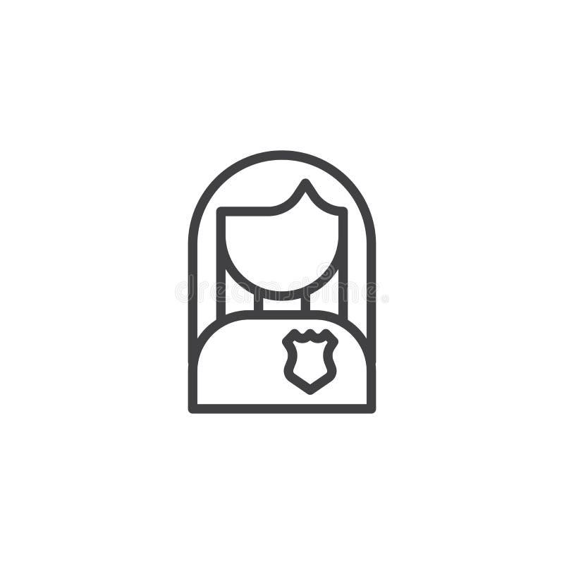 Ícone fêmea do esboço do avatar da polícia ilustração stock