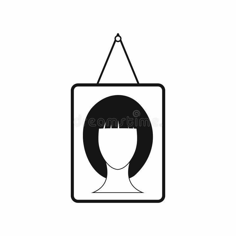 Ícone fêmea do retrato da foto, estilo simples ilustração royalty free