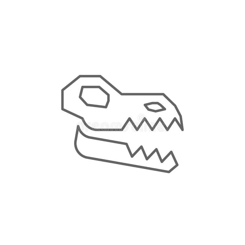 Ícone fóssil do crânio pré-histórico Elemento do ícone de linha pré-histórica ilustração stock