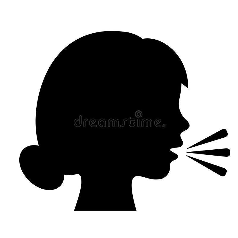 Ícone falador da silhueta da mulher ilustração do vetor