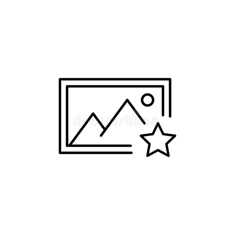 Ícone favorito do esboço da imagem do álbum Os sinais e os símbolos podem ser usados para a Web, logotipo, app móvel, UI, UX ilustração royalty free