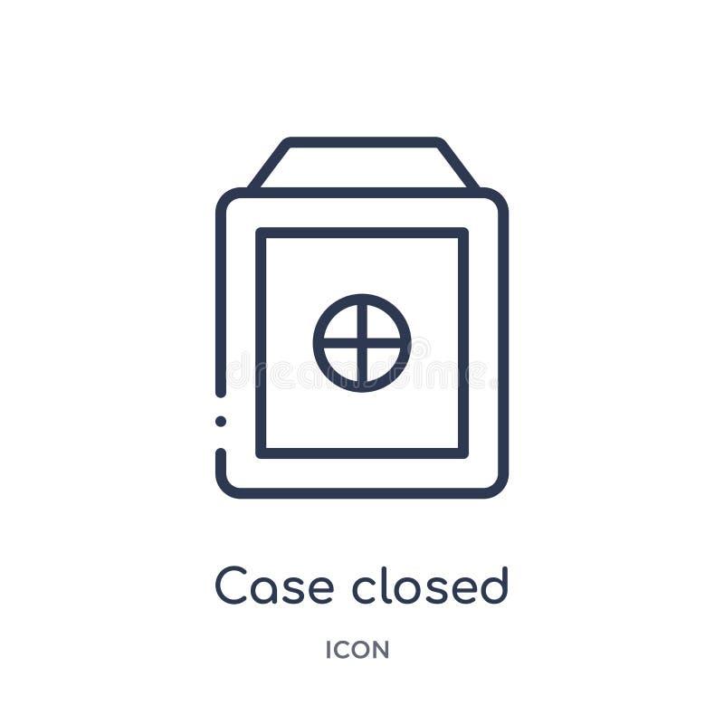 Ícone fechado do caso linear da coleção do esboço da lei e da justiça A linha fina caso fechou o ícone isolado no fundo branco ca ilustração do vetor