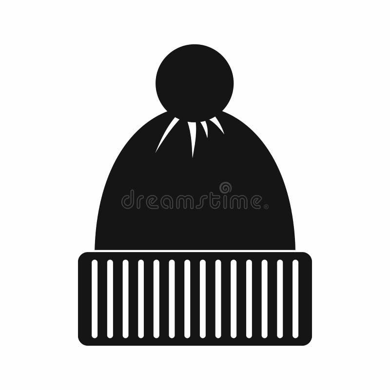 Ícone feito malha do chapéu, estilo simples ilustração do vetor