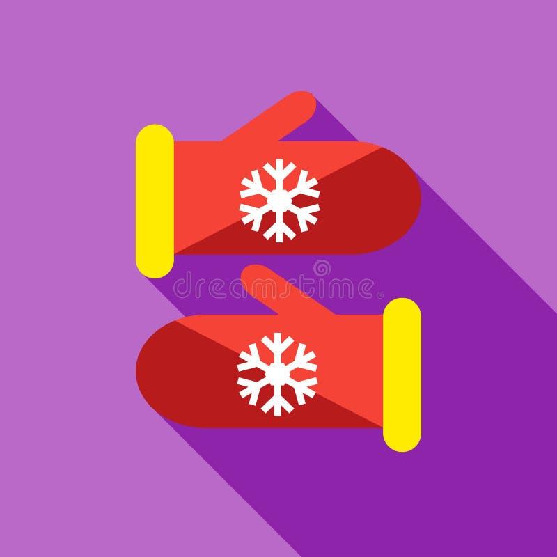 Ícone feito malha dos mitenes do Natal, estilo liso ilustração stock