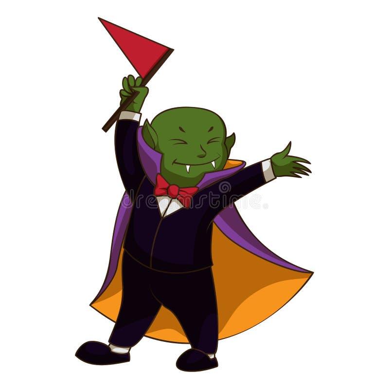 Ícone feliz da criança do vampiro, estilo dos desenhos animados ilustração royalty free