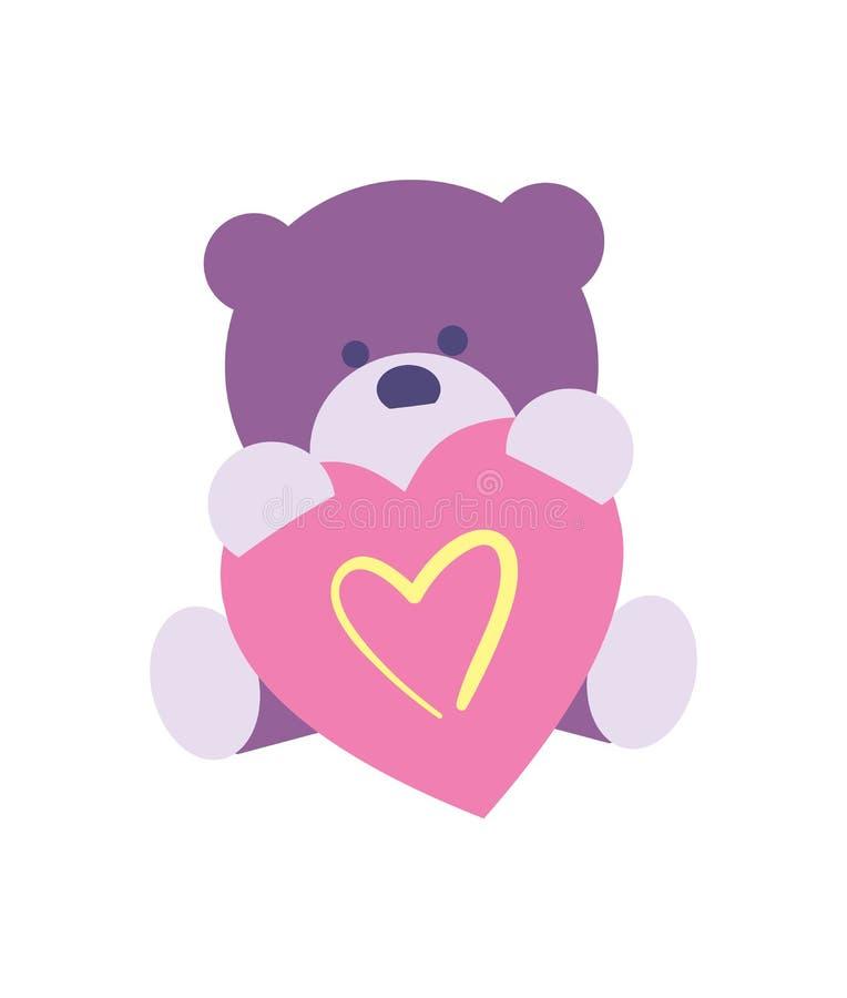 Ícone feliz do dia de são valentim com urso de peluche ilustração do vetor