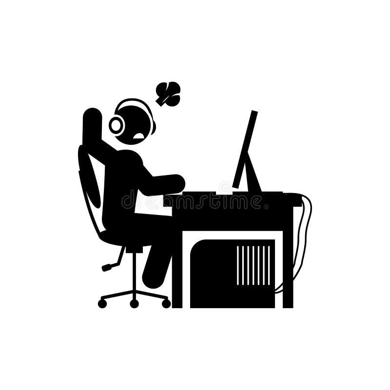 ícone feliz do homem Elemento do ícone do gamer para apps móveis do conceito e da Web O ícone feliz do homem do Glyph pode ser us ilustração do vetor
